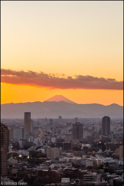 Mt. Fuji at Sunset from Tokyo Tower.