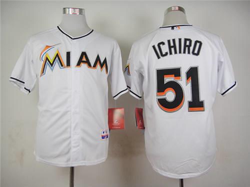 online store 9e1a6 fb21c Miami-Marlins--2351-Authentic-Ichiro-Suzuki-Home-Jersey-45 ...