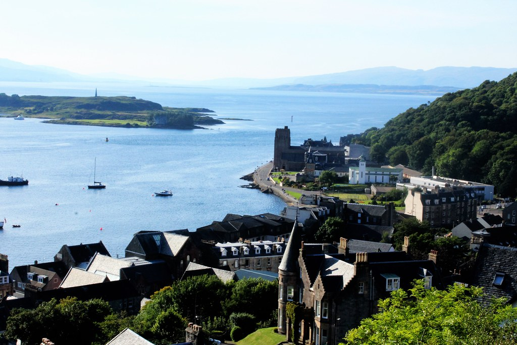 View of Oban and harbour from McCaig's Tower
