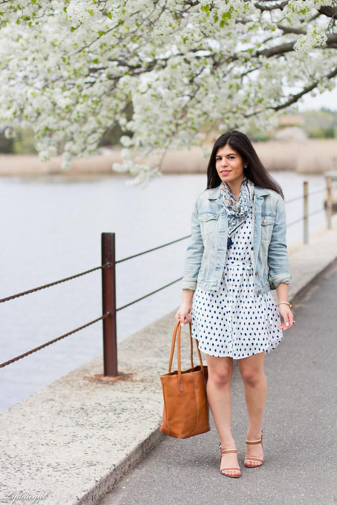 polka dot shirt dress, denim jacket, scarf-6.jpg