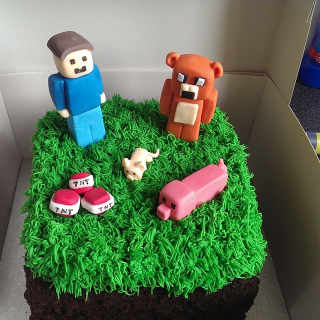 A Minecraft Based Birthday Cake For The Youngest Minecra