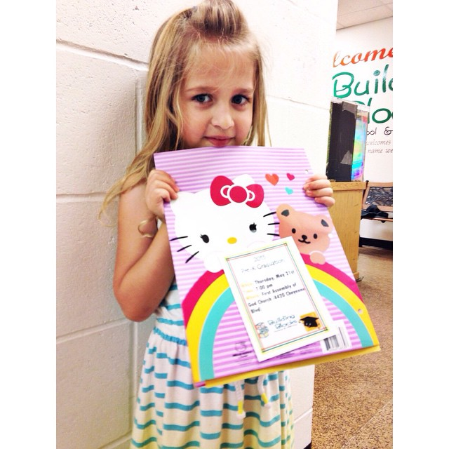 5:15 pm . Pick up Zooey from preschool . She has a note telling all about preschool graduation coming up next week! #aedayinthelife