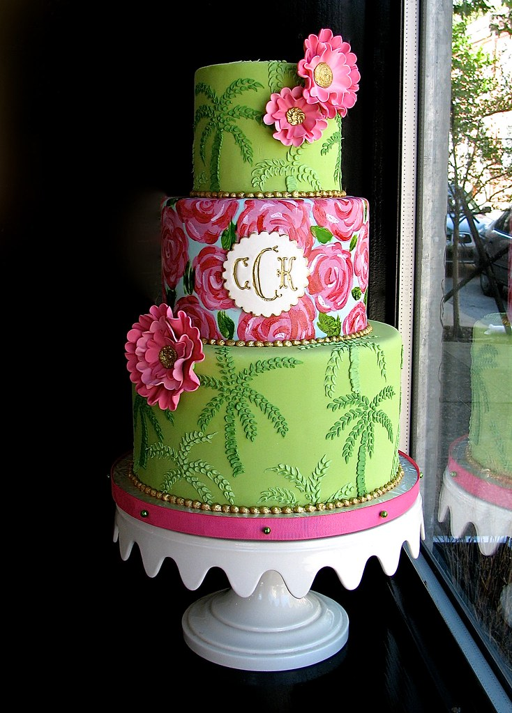 Lilly Pulitzer Themed Cake A Bridal Shower Cake Based On