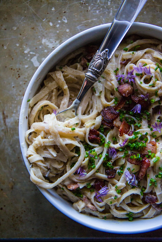 Creamy Cauliflower Fettuccini with Bacon- gluten and dairy free