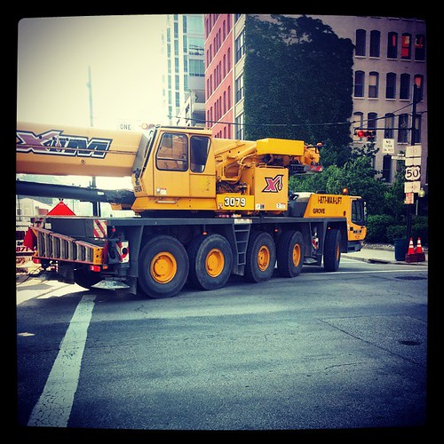 I saw this huge crane turning onto Seventh Street this morning on my way to work.