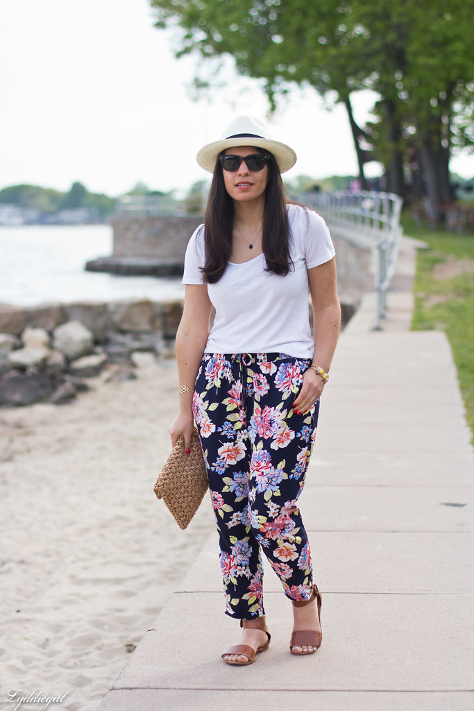 floral joggers, white tee, panama hat.jpg