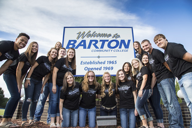Barton Ambassadors by Welcome Sign