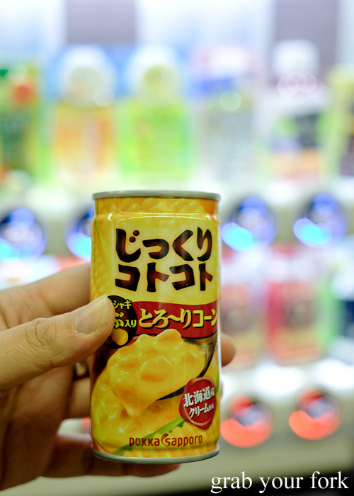Hot corn potage soup in a can from a Japanese vending machine
