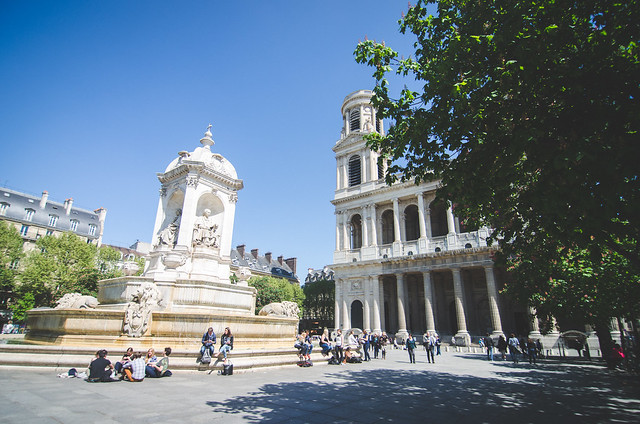 The courtyard outside of the Church of Saint-Sulpice is perfect for picnicking and people watching.
