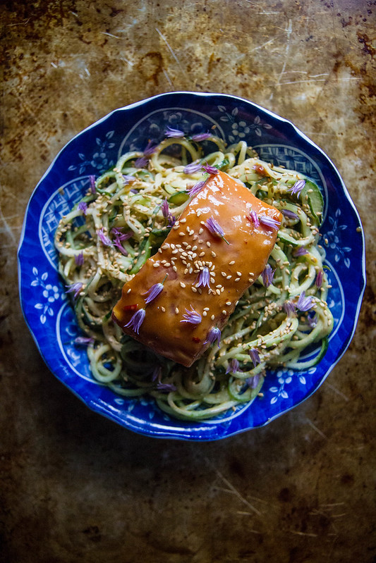 Tahini Glazed Salmon with Cucumber Noodles