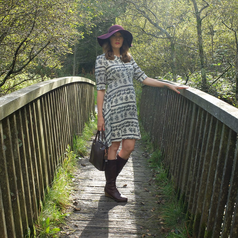 70s hat and Pearl Lowe tea dress