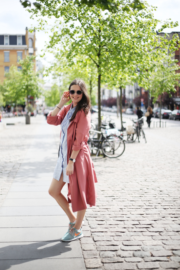outfit: pinstripe shirtdress, dusty rose duster coat, mint Nike Rosheruns