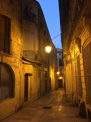 Montpellier lit alleyway at night | by Kate Wirth
