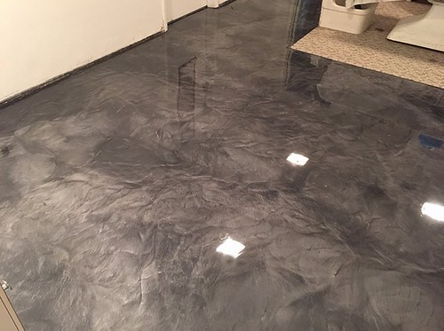 Concrete Floor Marble Kitchen