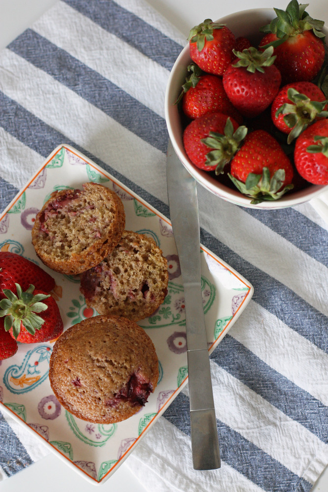 A super tasty and easy alternative to banana bread. These strawberry muffins only need one bowl and you can have them in the oven in less than ten minutes.