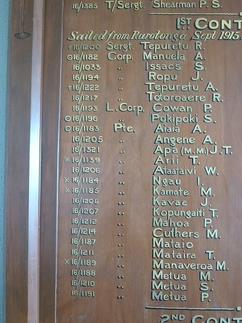 Rarotongan Roll of Honour