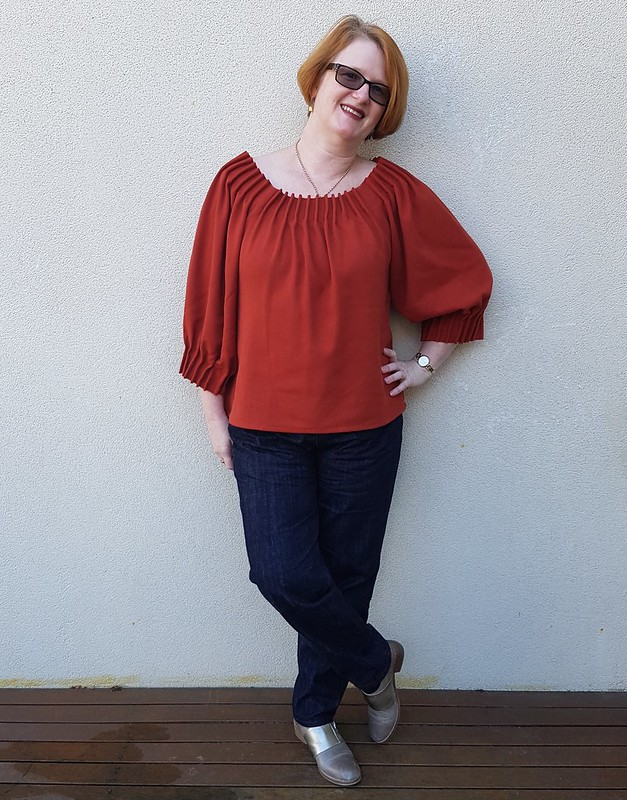 Scroop Patterns Henrietta Maria top in wool crepe from Rathdowne Fabrics