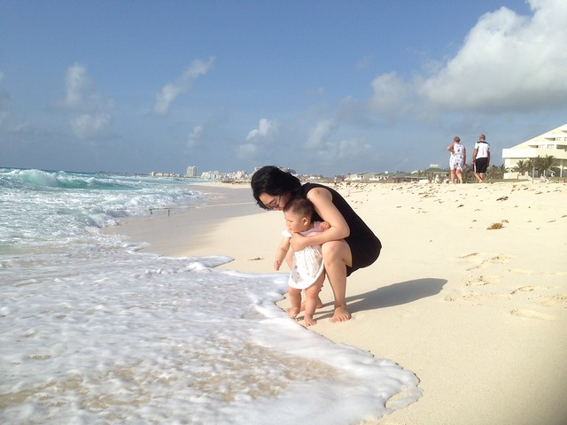 Touching the sea in Cancun