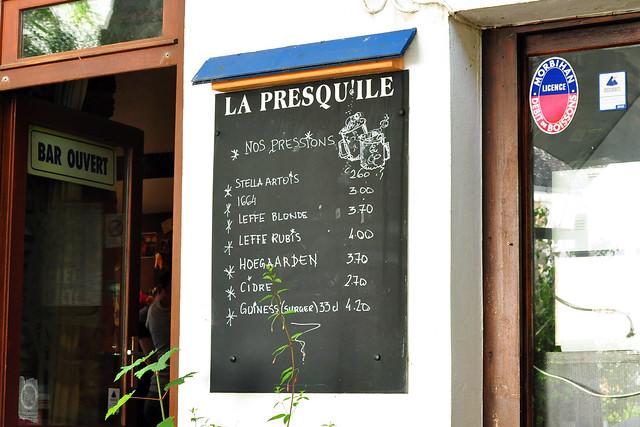 Bretagne-Urlaub: Unsere Lieblingsbar in Saint-Gildas-de-Rhuys: die Bar de la Presqu'ìle und ihr Bierangebot - Foto: Brigitte Stolle 2016