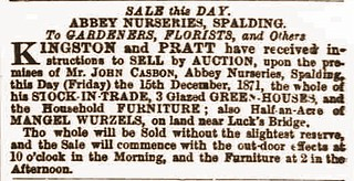 Stamford Mercury 15Dec1871 Sale of J Casbon nursery Spalding