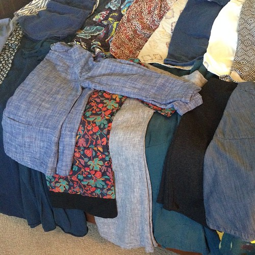 Quick pic of #memade clothes since #mmmay15 starts tomorrow, could've sworn there was another week in April!  Good news? I have enough for every day. Bad news? Nearly a third is suited to cooler weather.  And I have a most decided leaning towards blue ton | by wandering spirit designs