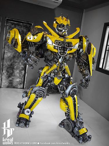 Dieselpunk recycled metal statues by Kreatworks - Transformers Bumblebee