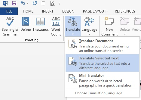 word 2013 review translate