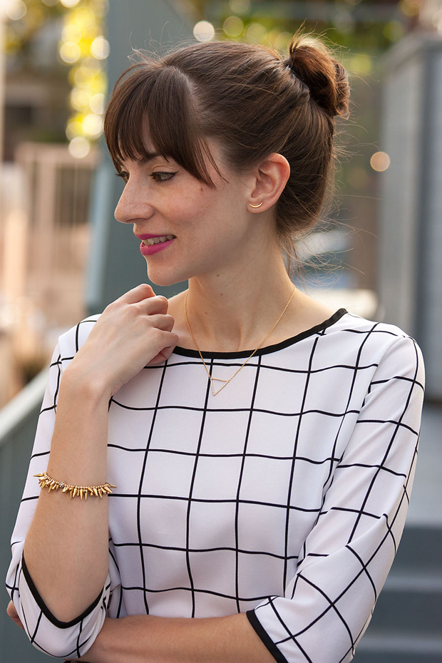 Rocksbox jewelry, Gorjana earrings, Grid Print Top