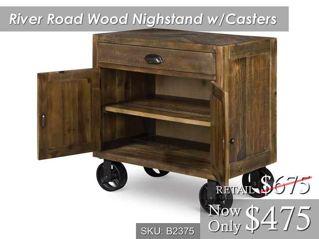 River Road Wood Nightstand wCasters