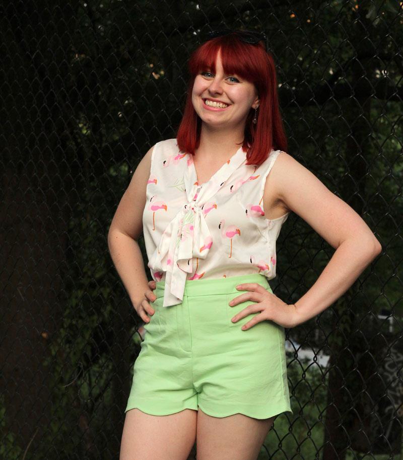 Bright Red Hair Pink Flamingo Print Bow Knot Shirt Green Scalloped Shorts