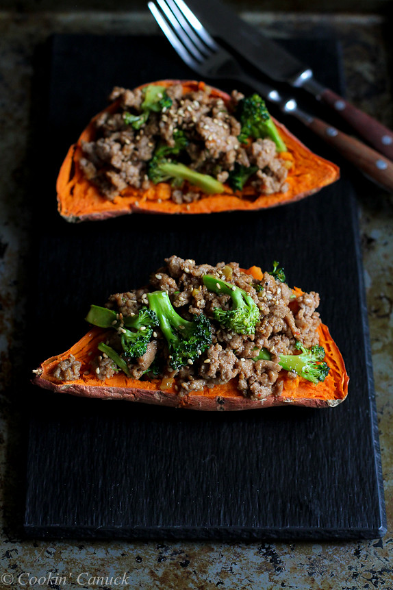 Hoisin Turkey And Broccoli Stuffed Sweet PotatoesBeyond Delicious 305 Calories
