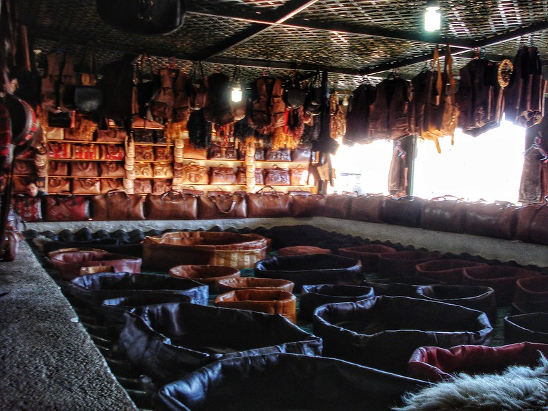 Inside a tannery showroom, Fez