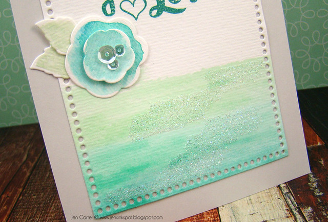 Jen Carter Watercolor Love Closeup Glitter