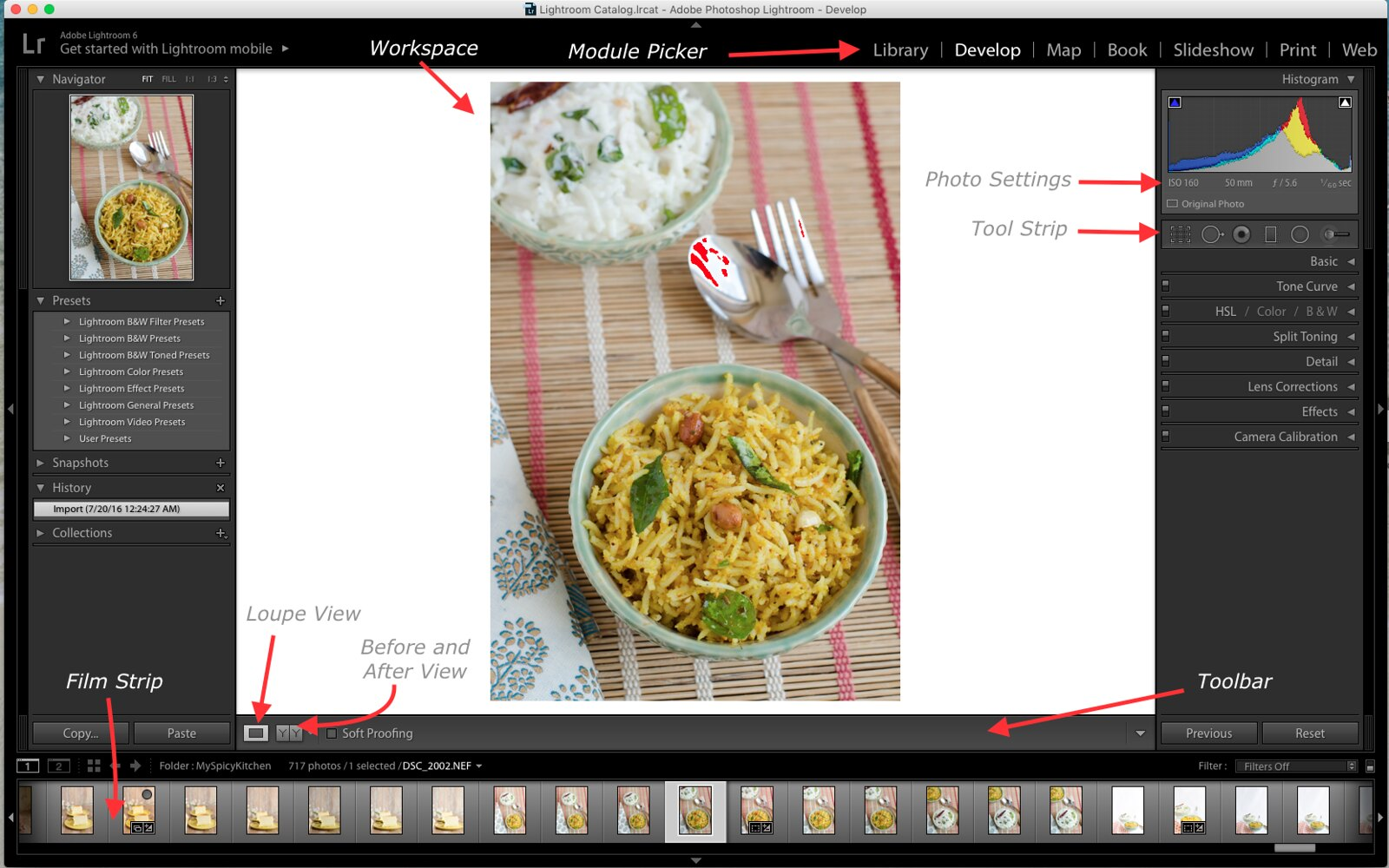 Develop Module, Lightroom, Develop Module in Lightroom, Lightroom Tutorial for Food photos, Lightroom tutorial