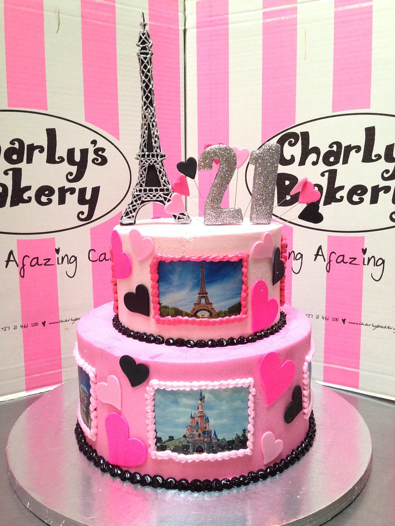 2 Tier Paris Themed 21st Birthday Cake Iced In Butter Icin Flickr
