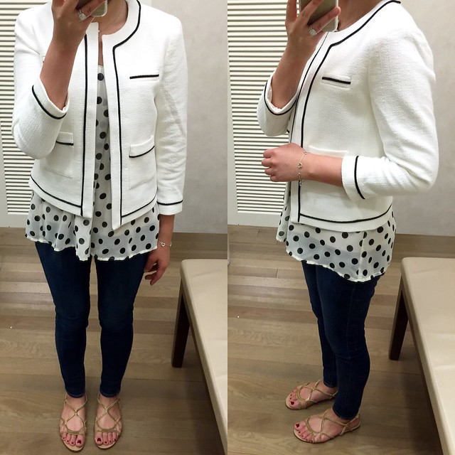 Ann Taylor Collarless Tipped Jacket, size 2P