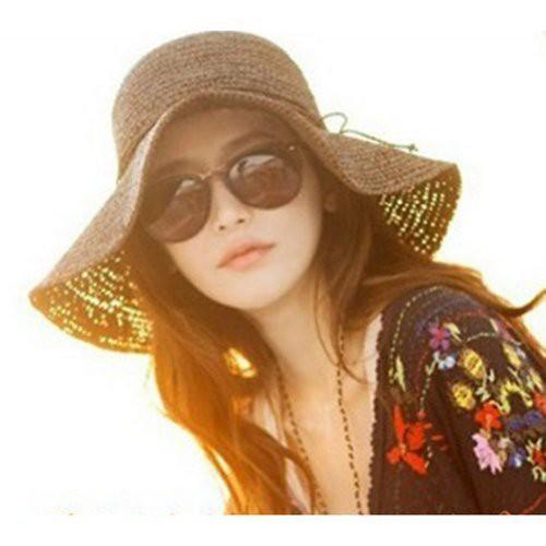 6608fa4ed4286 ... E-eyes Retro Women Ladies Wide Brim Roll-up Crocheted Hats Bohemia  Straw Sun
