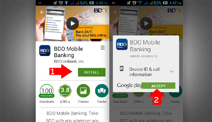 How to install BDO Mobile Banking App step 2