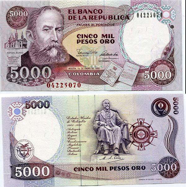 5000 Pesos Kolumbia 1990, Pick 436