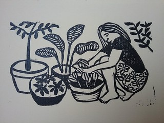 The hopful gardener lino print | by kate fern