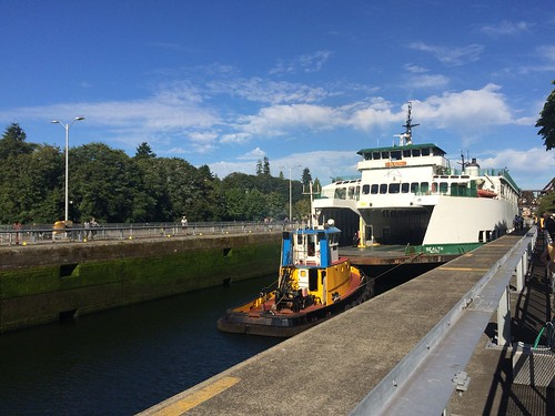 M/V Sealth squeezes through the 80 foot Hiram M. Chittenden Locks in Ballard.