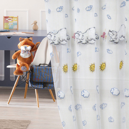 晴天北極熊(獨家) 兒童立體雲朵可愛動物 無接縫窗紗布 DB2390001