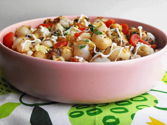 Salada de batata com choquinhos grelhados