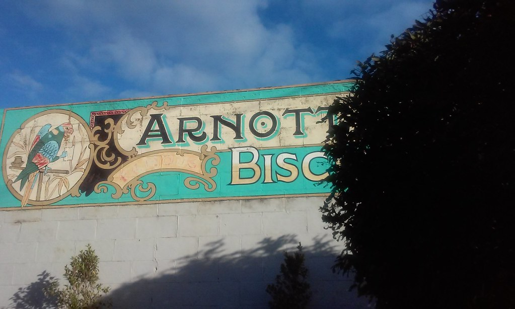 Old advertising for arnotts bisuits on the wall of the old general store