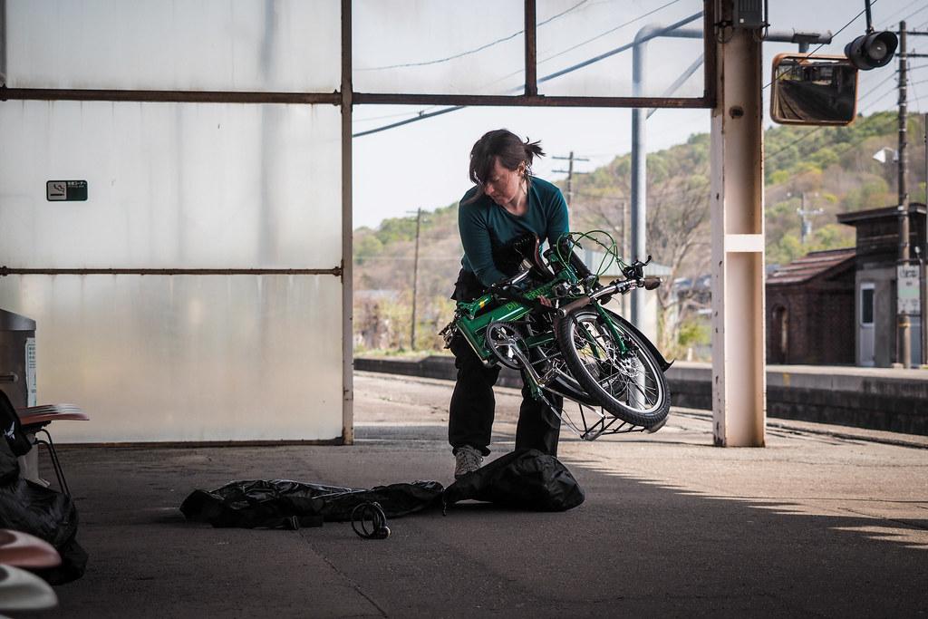 Packing a Bike Friday folding bike up at Kuromatsunai Station, Hokkaido, Japan