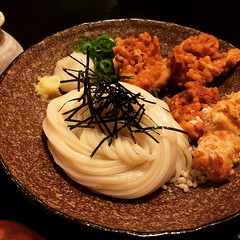 super crispy chicken bukkake udon♡ #池田 #大阪 #うどん処きち #とり天ぶっかけうどん #kichi #ikeda #osaka #lunch #udon