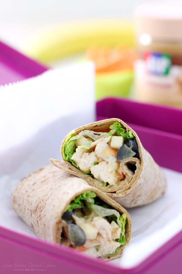 PB Apple Chicken Salad Wraps in a lunchbox.