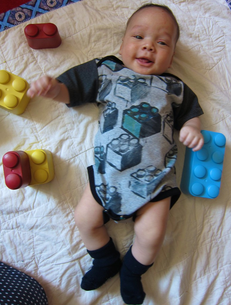 Block-printed Lego Blocks Onesie/Bodyshirt
