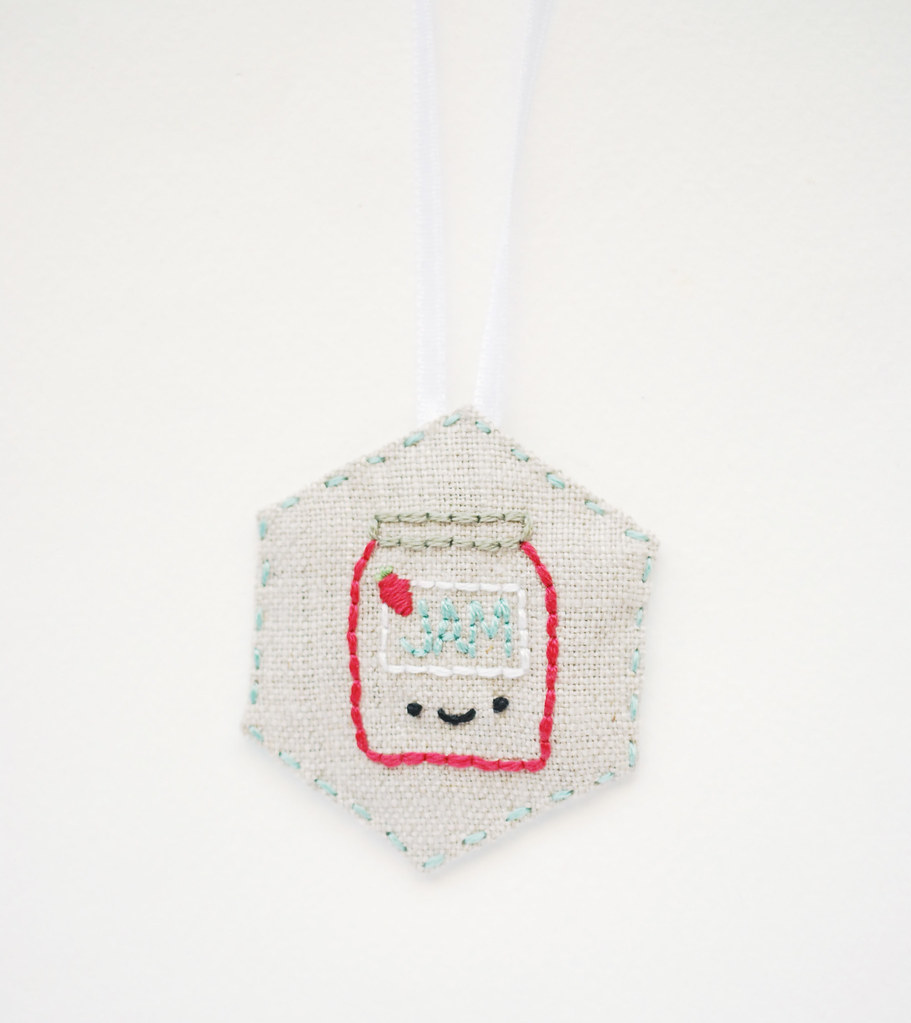 Embroidered Hexagon Necklace