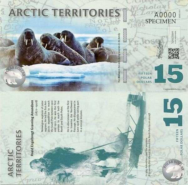 15 Polárnych dolárov Arktída 2011 specimen, polymer